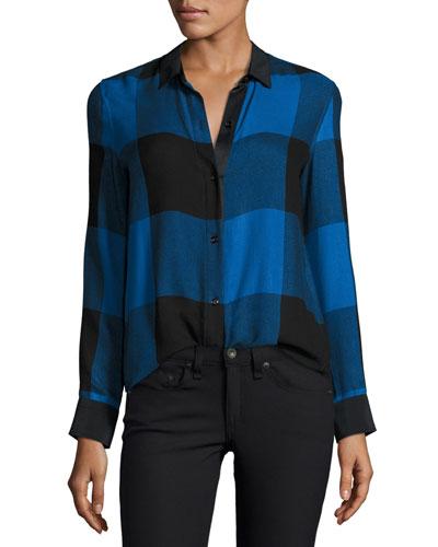 Danni Long-Sleeve Buffalo Check Blouse, Blue/Black