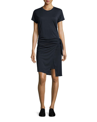 Andie Short-Sleeve Jersey Wrap Dress, Navy