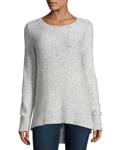 Tamara Melange Cashmere Sweater, Light Gray