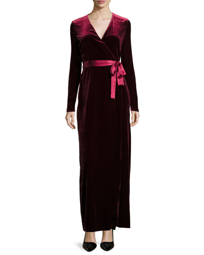 Julian Velvet Wrap-Front Maxi Dress