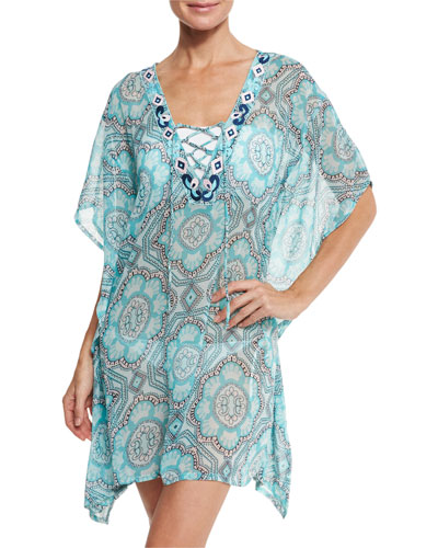 Lace-Up Sheer Printed Coverup Tunic