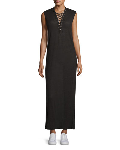 Daisy Laced Linen Maxi Dress, Black