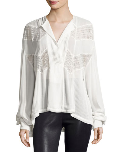 Yamy Long-Sleeve Lace & Plissé Top, Ivory