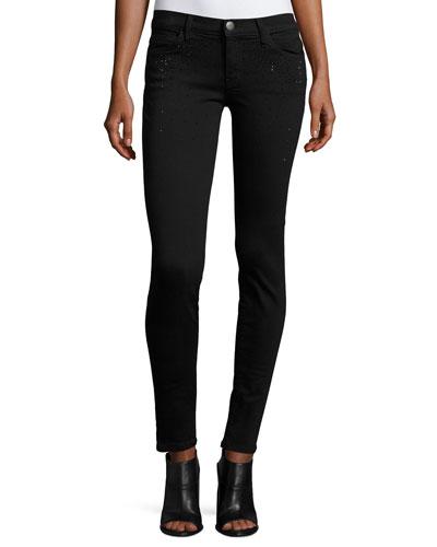 The Ankle Skinny Jeans w/Rhinestones, Jet Black