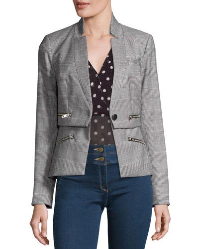 Paloma Plaid Zipper Jacket, Black/White/Red