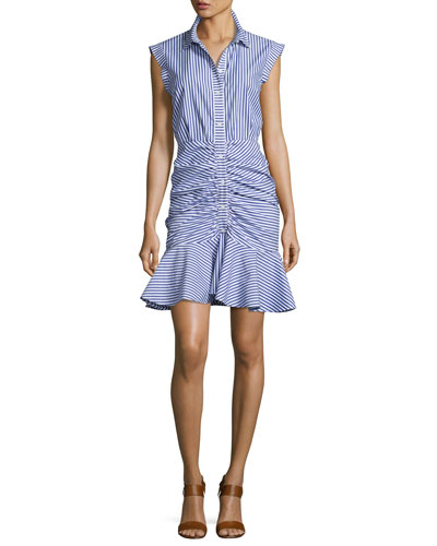 Bell Sleeveless Striped Flounce Dress, Blue/White