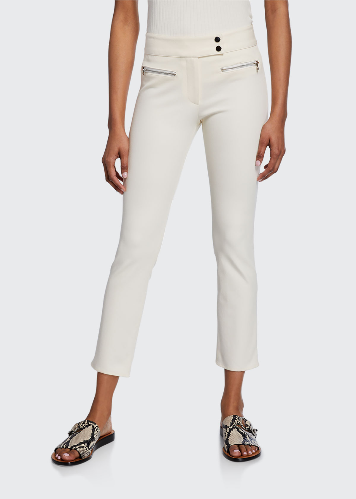 Metro Cropped Kick Flare Pants, Black in White