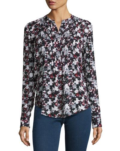 Goldie Floral Silk Tuxedo Blouse, Black/Navy/Red/White