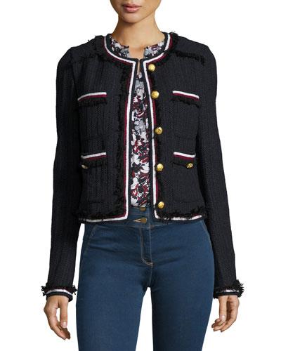 Eclipse Cropped Tweed Jacket, Black