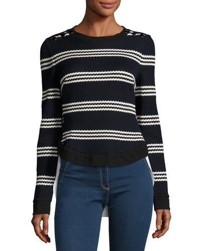 Long-Sleeve Striped Mixed-Media Top, Navy/White