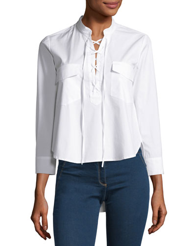 Harper Poplin Lace-up Blouse, White