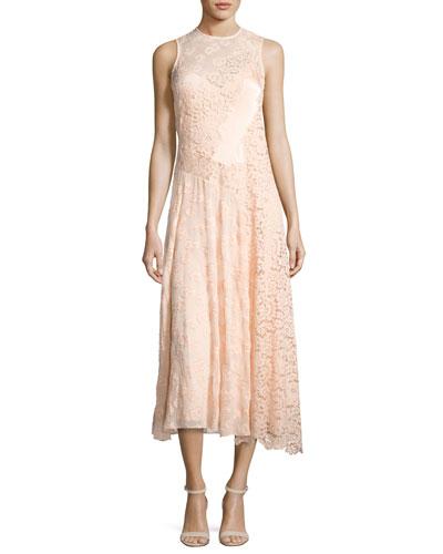 Mixed-Lace Sleeveless Midi Dress, Ballet