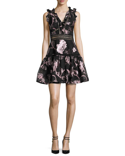 Metallic Floral Fil Coupe Fit & Flare Dress, Camellia