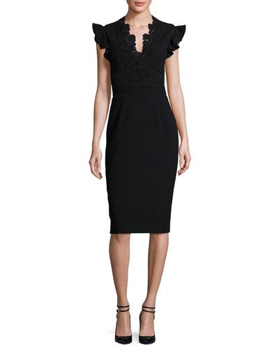 Lace-Trim Crepe Sheath Dress, Black