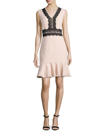 Tweed Contrast-Lace Sleeveless Dress, Ballerina Pink