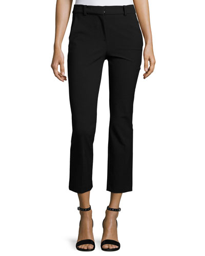 Straight Cropped Suit Pant, Black
