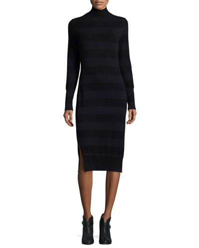 Careen Striped Mock-Neck Sweater Dress