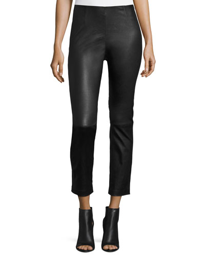 Cropped Napa Leather Leggings, Black