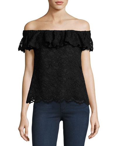 Off-the-Shoulder Floral Lace Top, Black