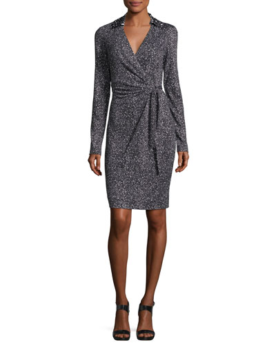 Jelsa Silk Jersey Faux-Wrap Dress