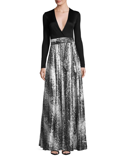 Aviva Metallic Wrap-Front Maxi Dress