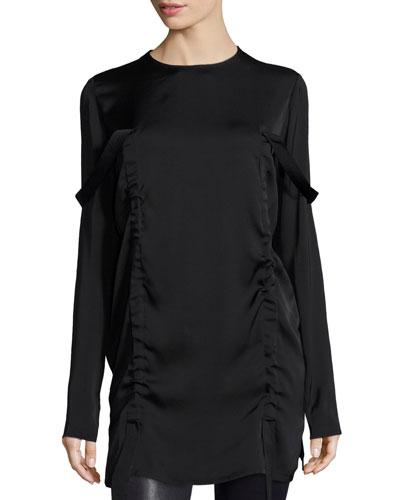 Long-Sleeve Stretch Silk Tunic, Black