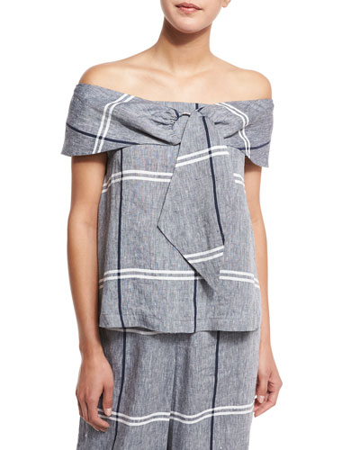 Off-the-Shoulder Plaid Linen-Blend Blouse, Chambray