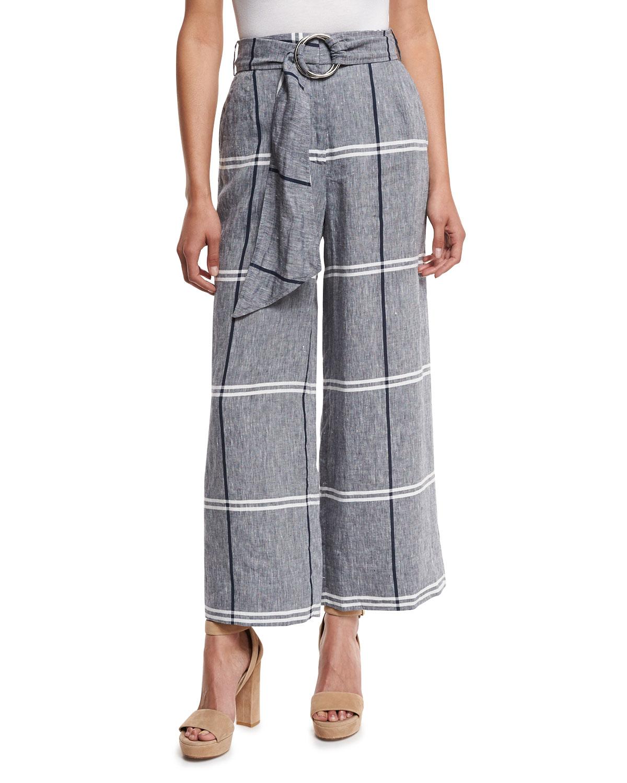 Cropped Plaid Wide-Leg Pants, Chambray