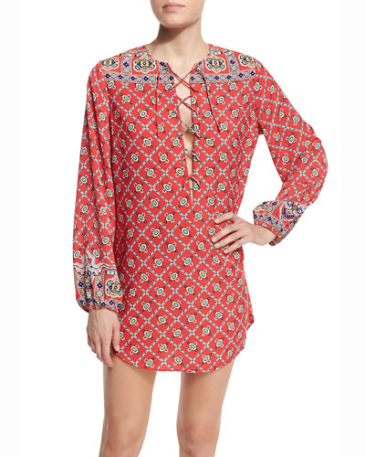Pretty Tough Printed Lace-Up Tunic