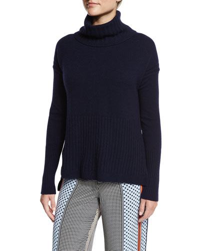 Cashmere Turtleneck Pullover Sweater, Navy
