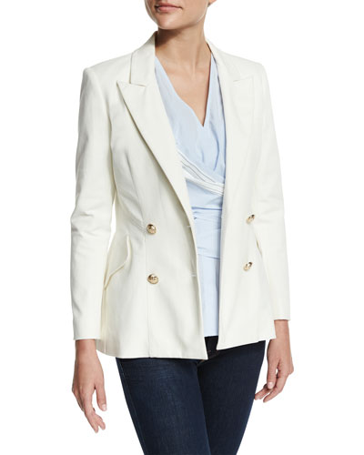 Double-Breasted Stretch Blazer, Soft White