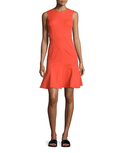 Sleeveless Paneled Fit-and-Flare Dress, Bright Coral