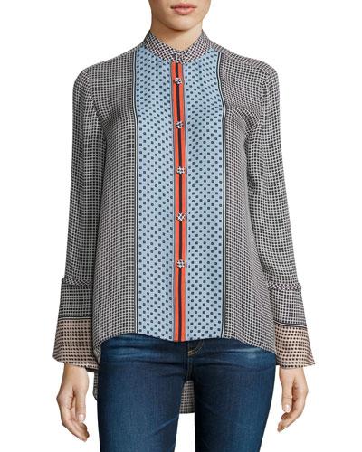 Bell-Sleeve Silk Mixed-Print Blouse, Light Pumice