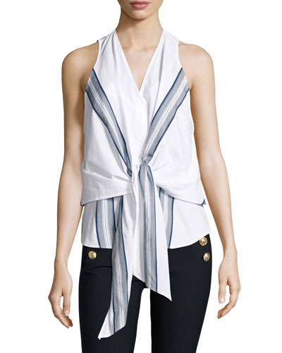 Sleeveless Poplin Wrap Top, Soft White