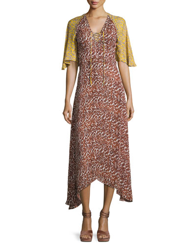 Silk Animal-Print Midi Dress, Pumice