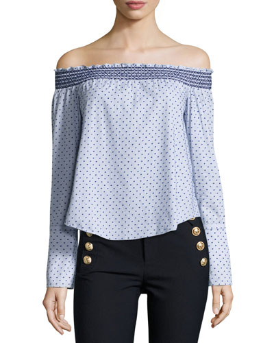 Off-the-Shoulder Boxy Polka-Dot Top, Oxford