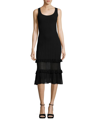 Sleeveless Ribbed Midi Dress, Black
