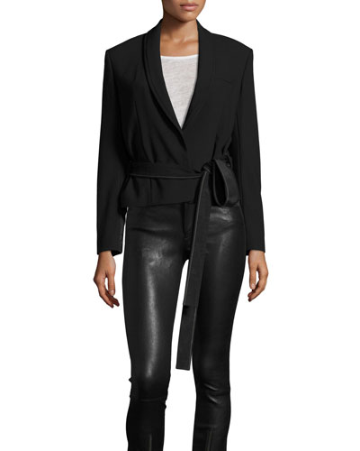 Stretch Gabardine Wrap Jacket, Black