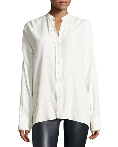 Long-Sleeve Overlap-Back Top, White
