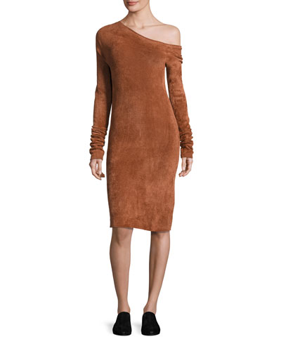 Long-Sleeve Velveteen Sheath Dress, Burnt Umber