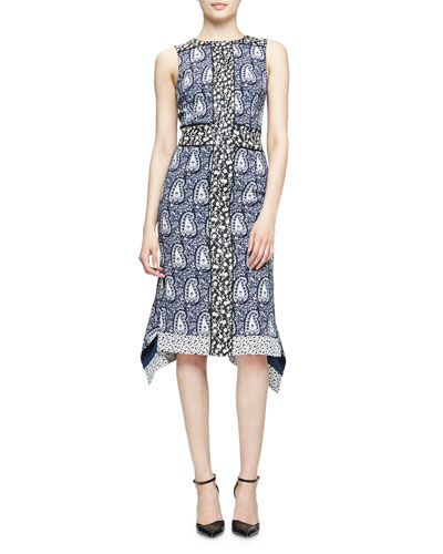 Cassandra Sleeveless Mixed-Print Dress, Navy