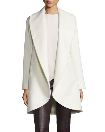Belted Wool Clutch Coat, Parchment