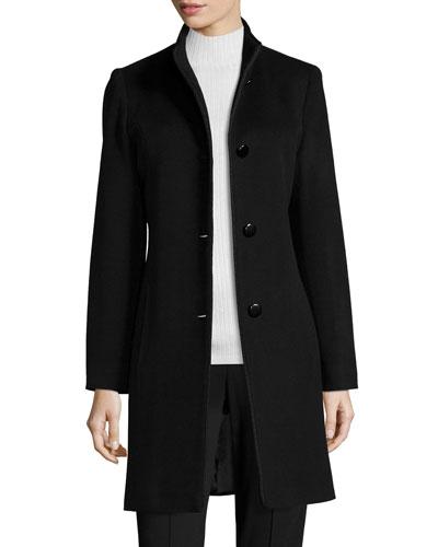 Mock-Neck Wool Coat, Black