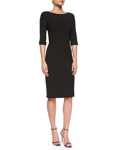 Princess-Seamed Rolled-Cuff Sheath Dress