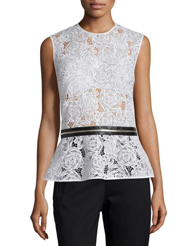 Lace Zip-Trim Peplum Top, Ivory