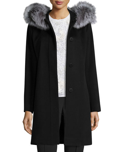 Hooded Wool Fur-Trim Coat, Black