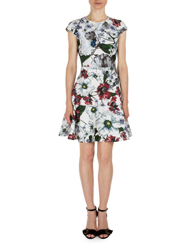 Darlina Cap-Sleeve Floral-Print Dress, White/Red
