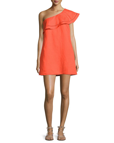 One-Shoulder Ruffle Coverup Dress, Red