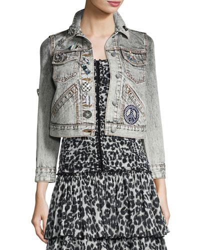 Shrunken Embellished Denim Jacket, Ecru