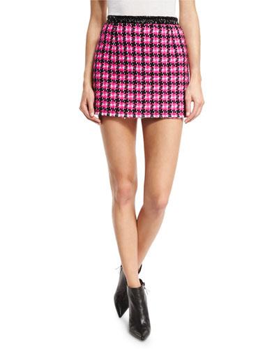 Tweed A-Line Miniskirt, Pink